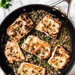 Salmon piccata with text overlay