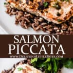 2 images of salmon piccata with text overlay between them