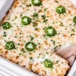 Salsa verde chicken casserole with text overlay