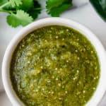 Tomatillo enchilada sauce with text overlay