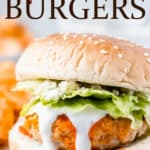 Buffalo Chicken Burgers with text overlay