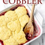 Cherry cobbler with text overlay
