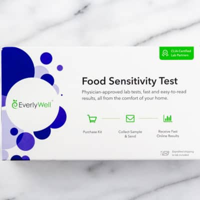 Everlywell Food Sensitivity Test box on a marble background