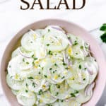 keto creamy cucumber salad with text overlay