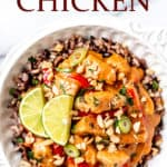 peanut butter chicken with text overlay