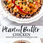 2 images of peanut butter chicken with text overlay between them