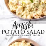 amish potato salad in a bowl with text overlay