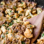barbecue and cauliflower skillet meal with text overlay