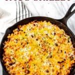 Cheesy taco skillet with text overlay