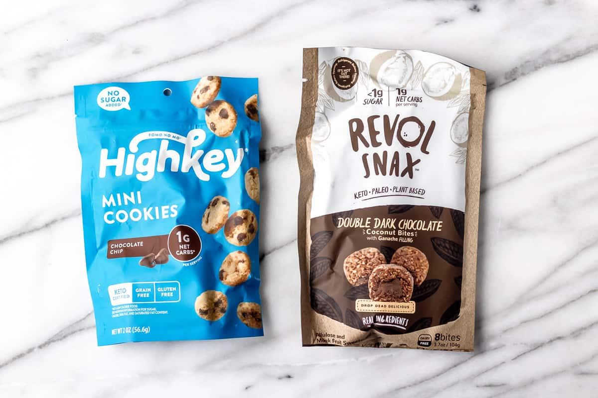 2 types of keto cookies in packages