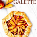 peach galette with text overlay