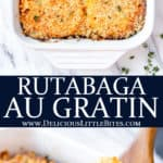 2 images of rutabaga gratin with text overlay between them