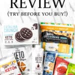 August 2021 keto krate snacks with text overlay