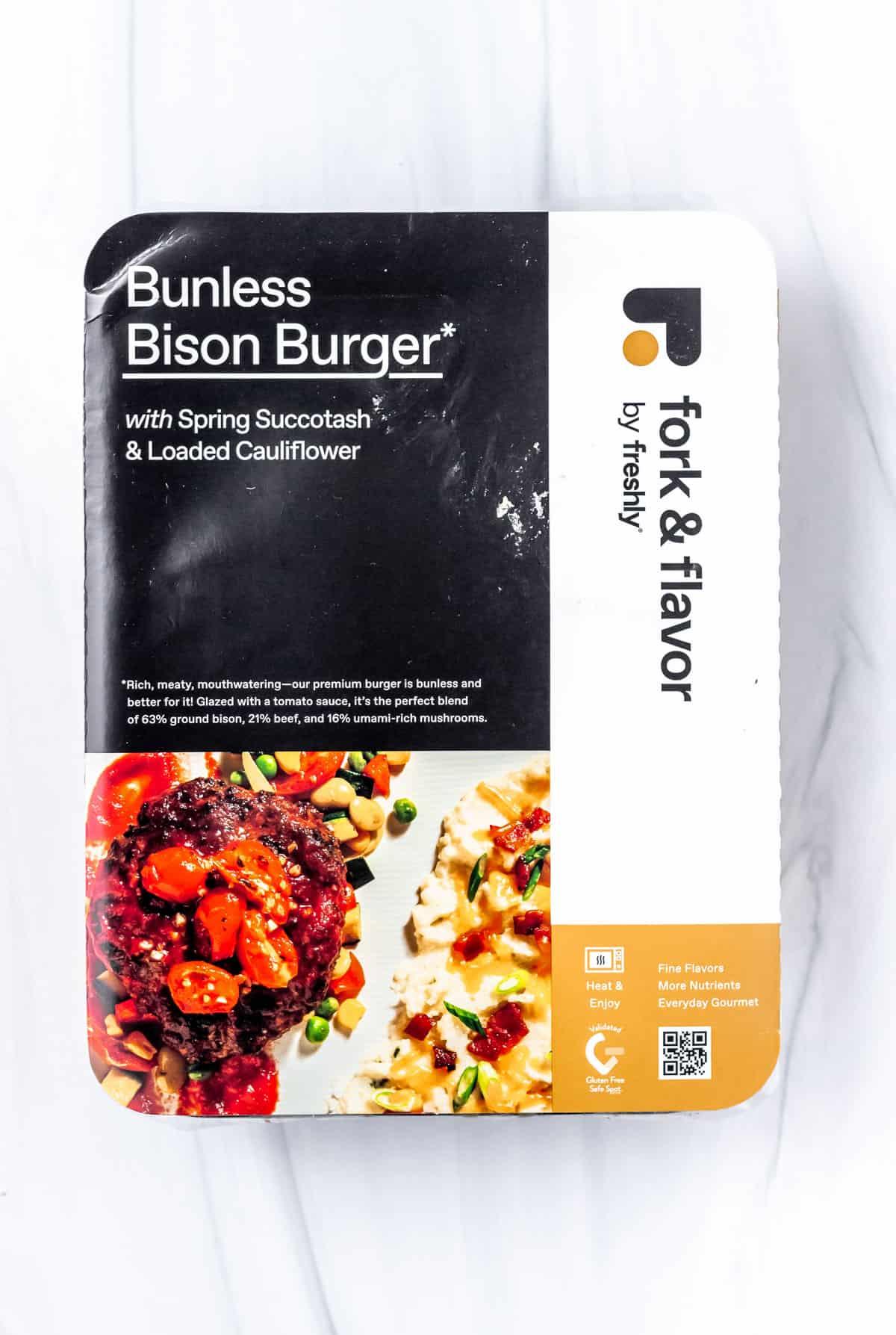 Freshly Bunless Bison Burger box