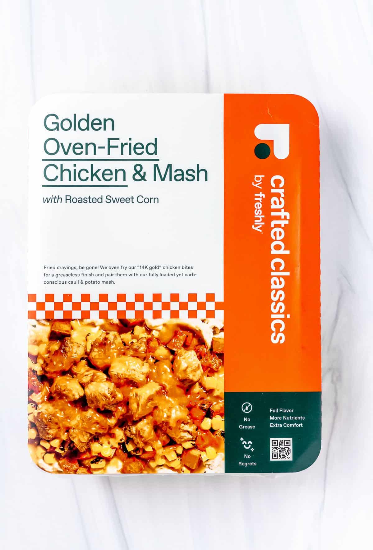 Freshly golden oven-fried chicken & mash box