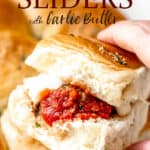 Meatball sliders with text overlay.