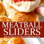 Two images of meatball sliders with text overlay between them.