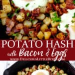 2 images of breakfast potato hash with text overlay between them.