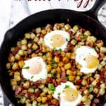 Potato hash and eggs skillet with text overlay.