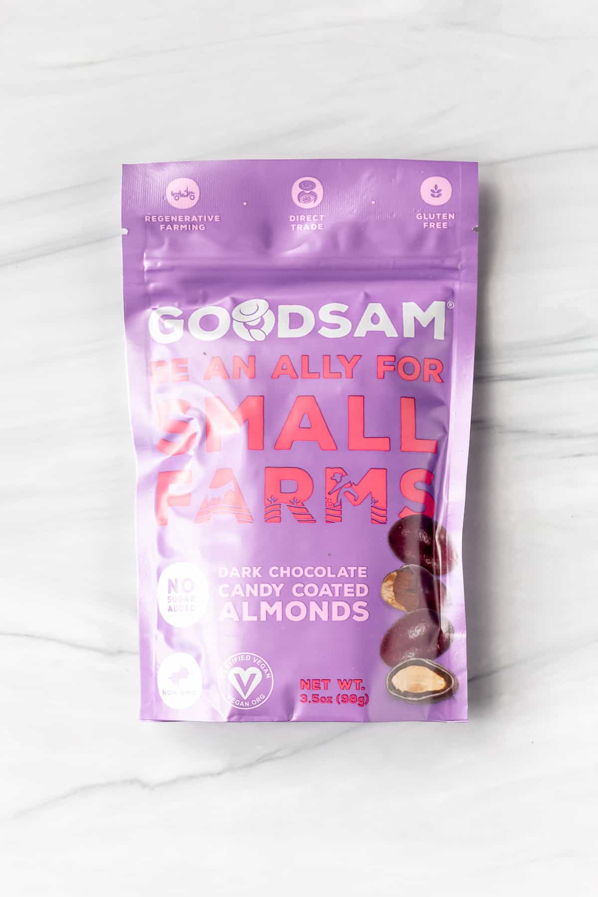 Good Sam Chocolate Covered Almonds package on a white background