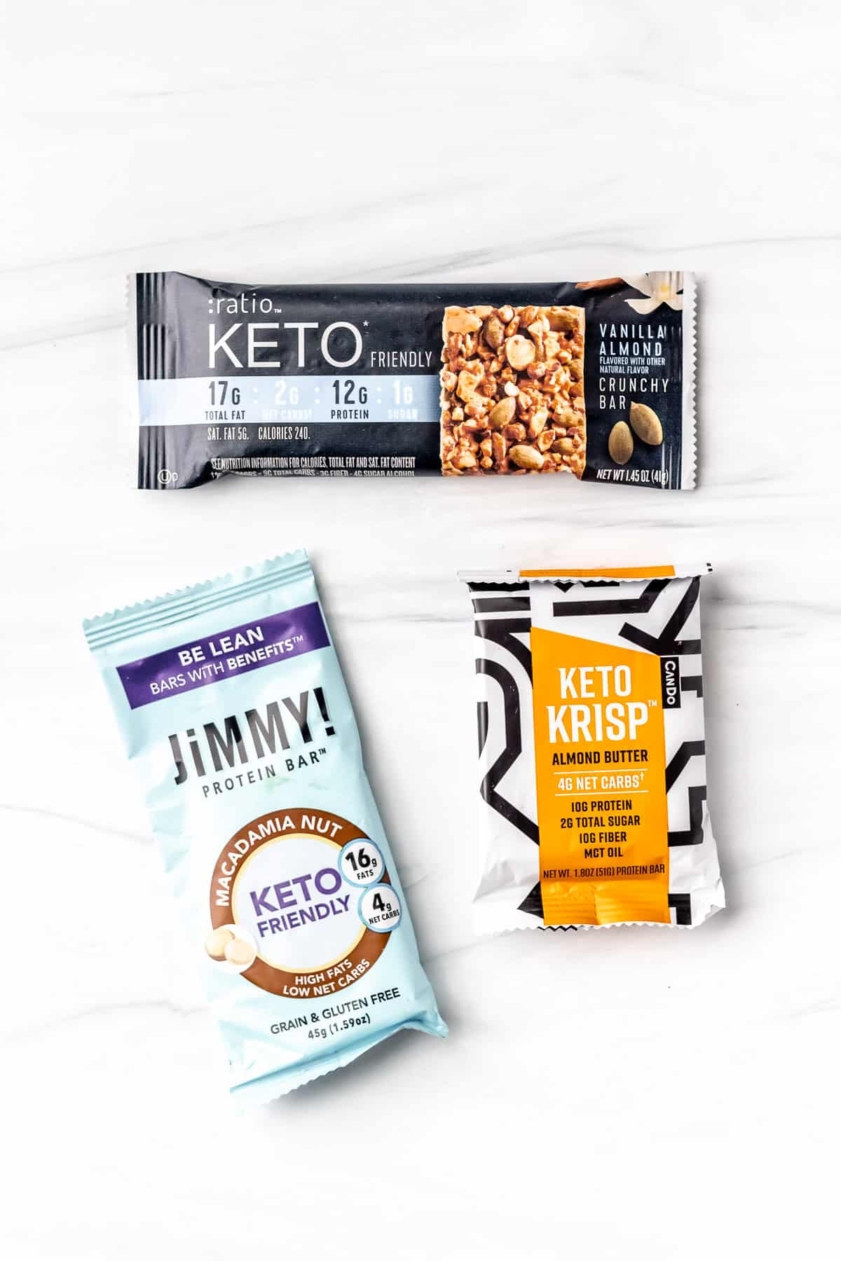 3 Keto snack bars on a white background