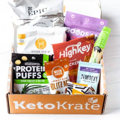 All of the items from the September 2021 Keto Krate displayed inside of the box